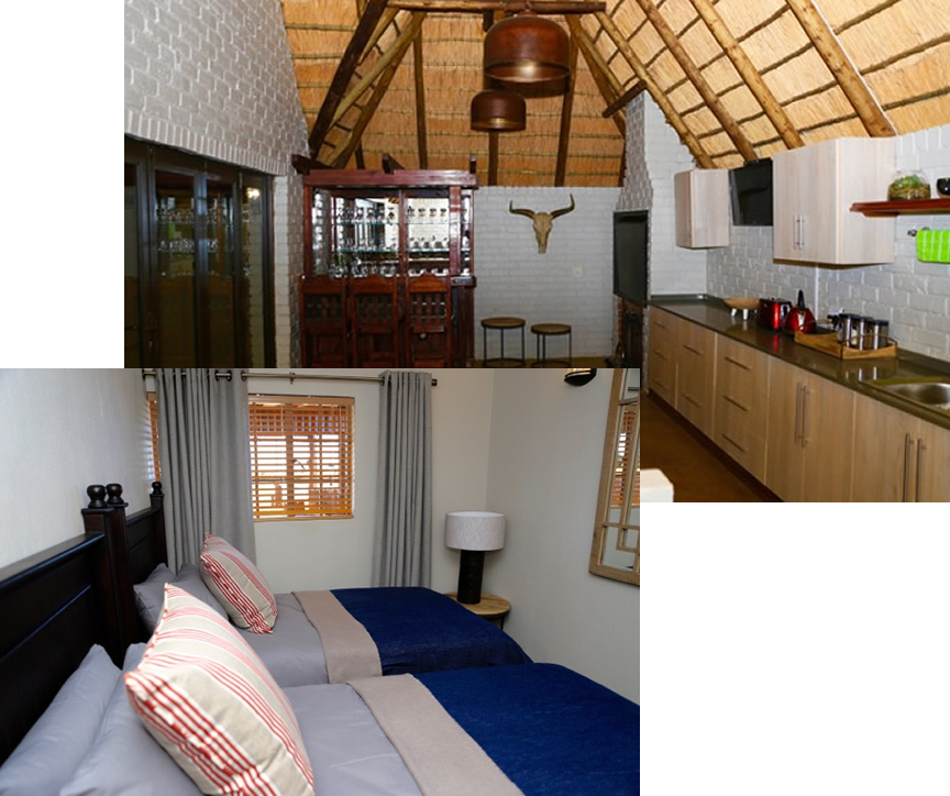 Collage of twin beds and the kitchen
